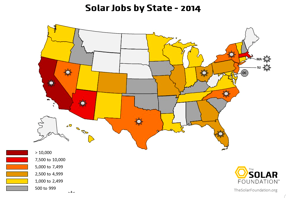 Solar Jobs by State (pre.thesolarfoundation.org)